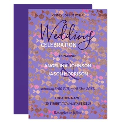 Wedding Invitation Purple Stylish Fishes Spring wedding