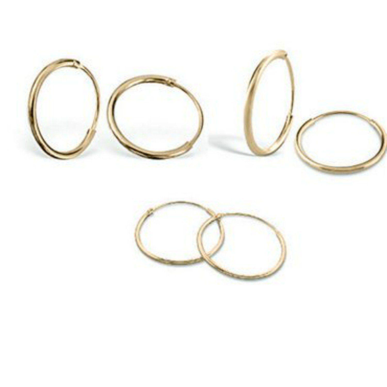 3 Pair Set Diamond Cut Thin Endless Hoop Earrings 12 14 16mm Sterling Silver Rose Yellow Gold Flash CU3Y7Hm