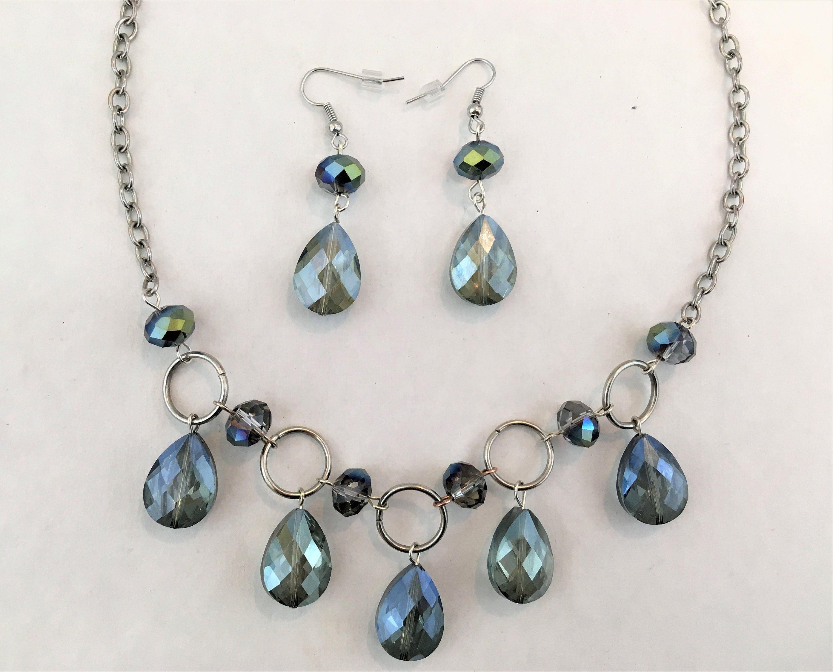 Necklace Earring Set Handmade Beaded Jewelry Tear Drop