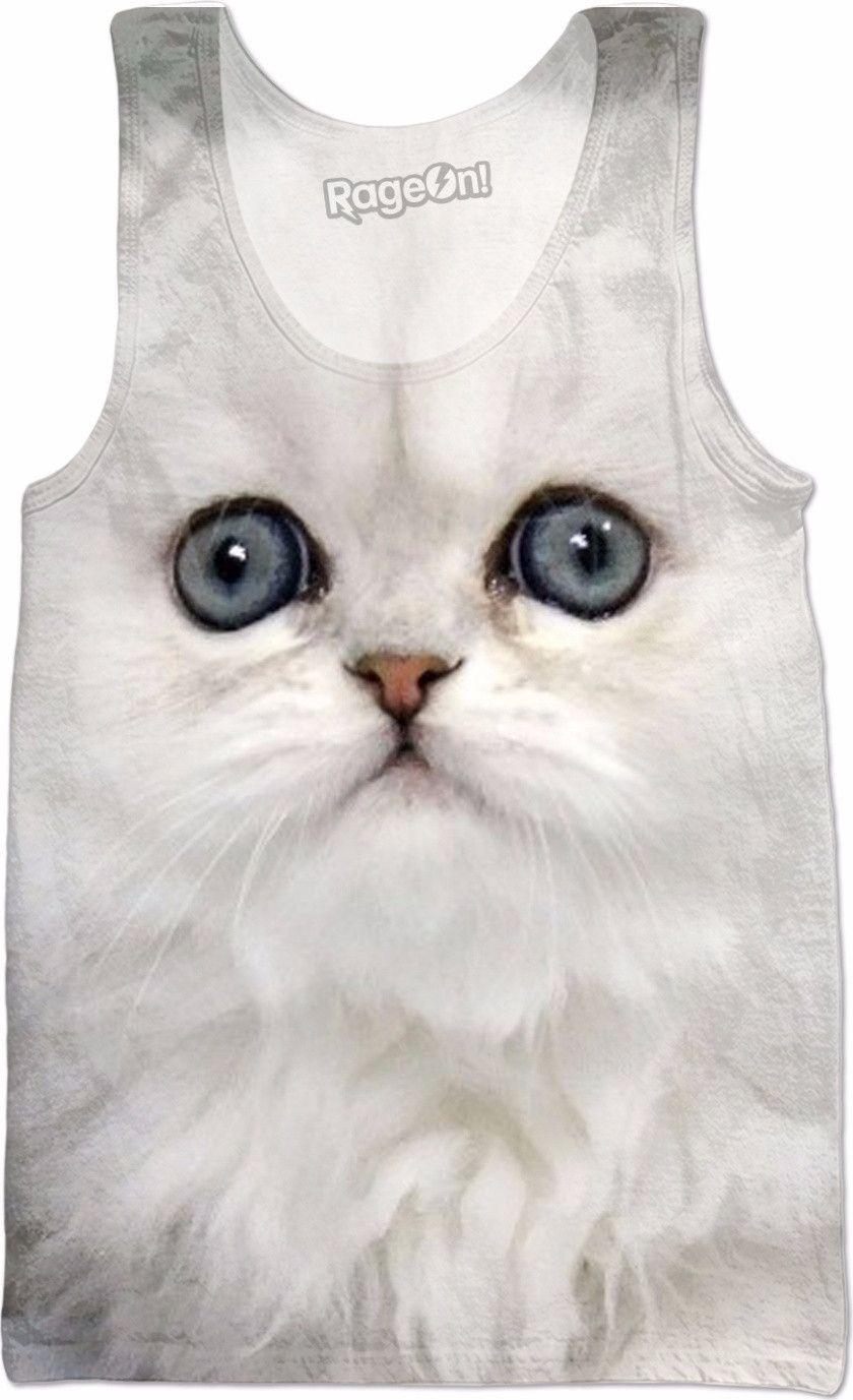 White Kitty Cat Tank Top Kittens, Cute cats, kittens