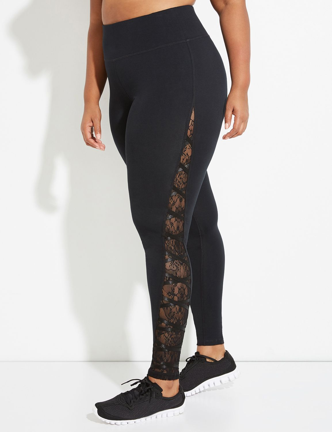 170838f6651 Signature Stretch Active Legging with Lace Mesh Inset