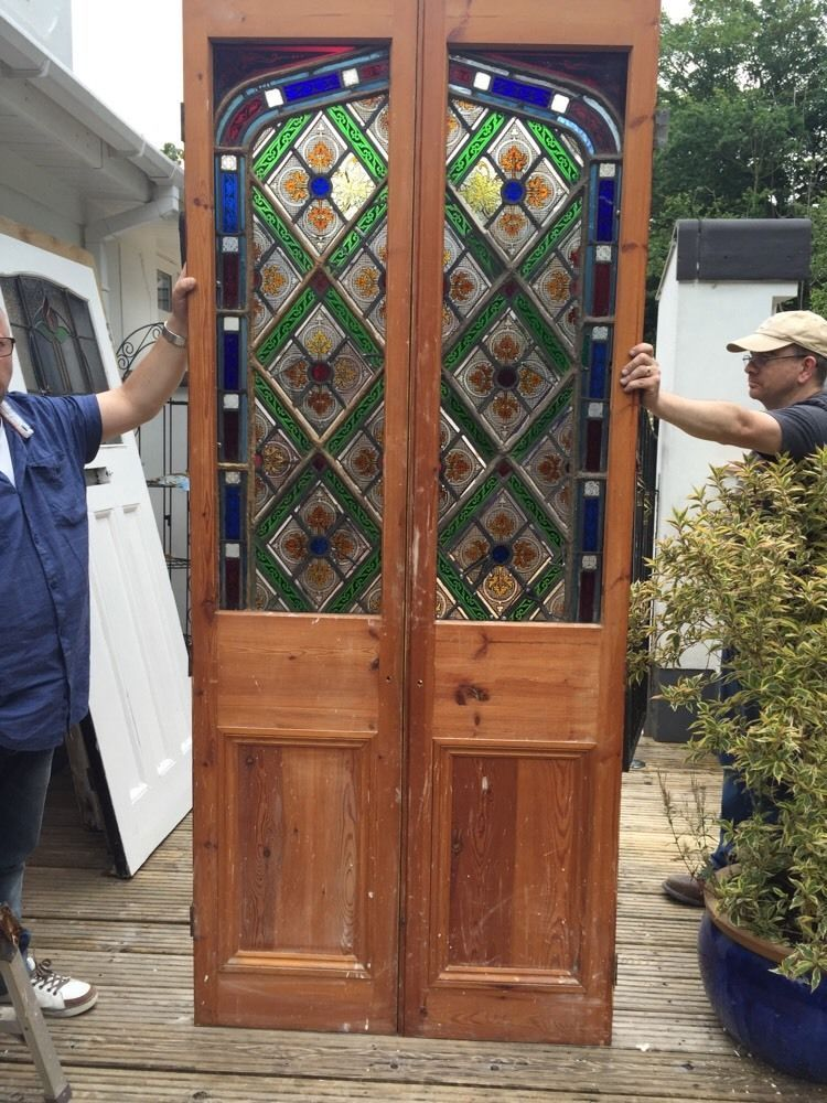 Large Stained Glass Regency Double Doors Antique Period Reclaimed