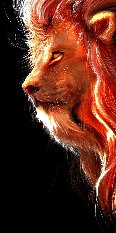 1440x2880 Lion, fur, muzzle, art wallpaper in 2020 Lion