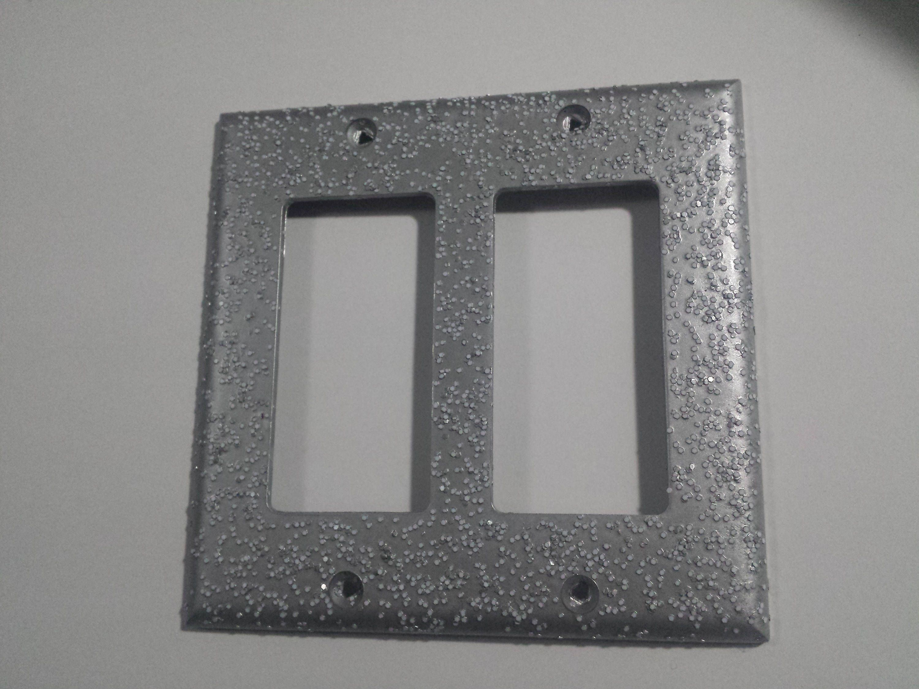 Silver Alunimum Opaque White Glitter Decorative Bling Light Switch Plates Out Light Switch Plates Plates On Wall White Glitter