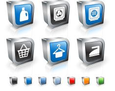 Laundry 3D royalty free vector icon set vector art illustration
