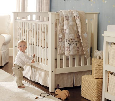 This is the crib I got and I'm pairing it with some linens in this same color scheme: tan & white