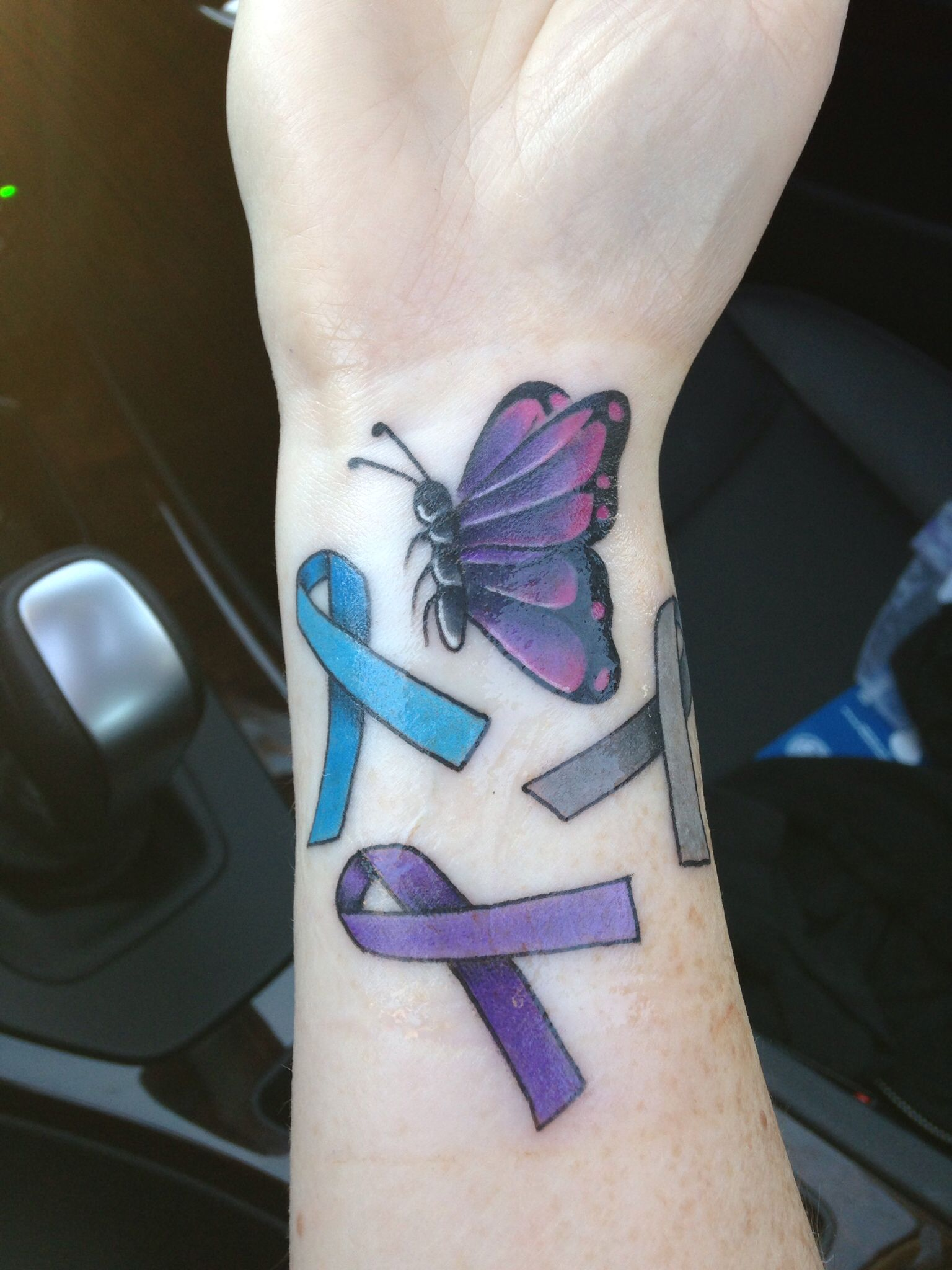 Butterfly tattoo w/3 awareness ribbons. Blue Arthritis