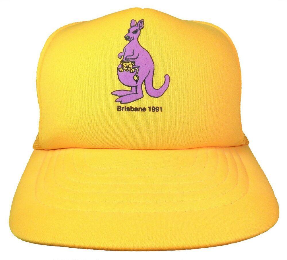 302cbc79 Brisbane 1991 Kangaroo Lion Yellow Snapback Mesh Back Trucker Hat Australia  NWOT #Leuts #Australia #Brisbane #AU #Aussie #Kangaroo #Lion #TruckerHat # Hat ...