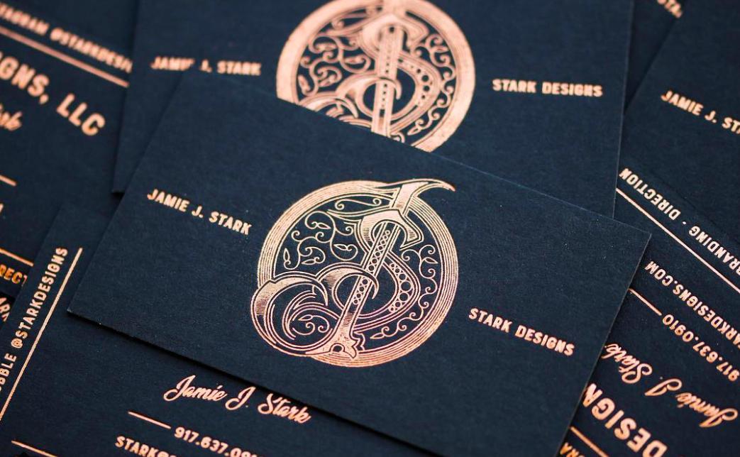 Copper Foil Business Cards On Black Paper Typography Design Mcpressure Is A Custom Letterpress And Hot Copper Foil Business Cards Foil Business Cards Cards