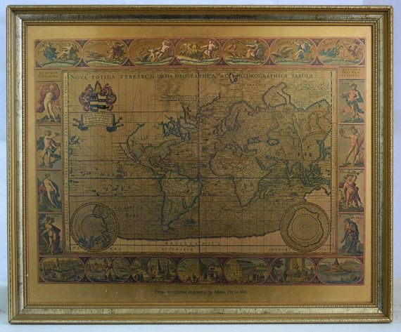 Framed world map foil print from original moses pitt engraving in framed world map foil print from original by spearmintgallery gumiabroncs Choice Image