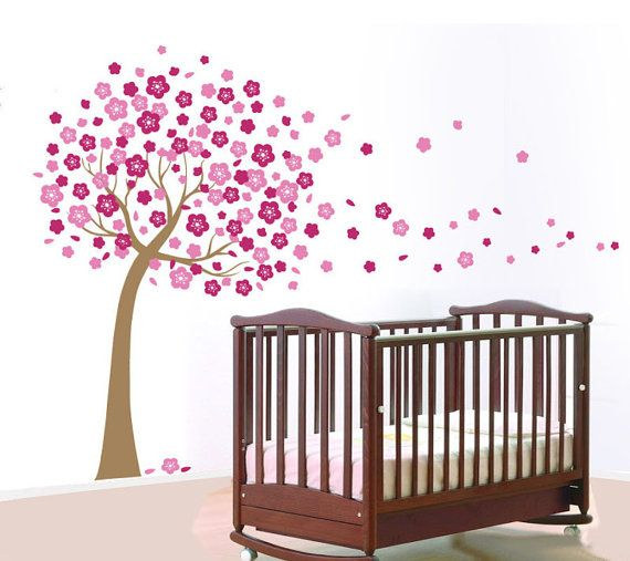 Modern Nursery Cherry Blossom Tree Wall Decal Flowering Branches Baby Room Wall Stickers Girl Bedroom Nursery Wall Stickers Tree Wall Decor