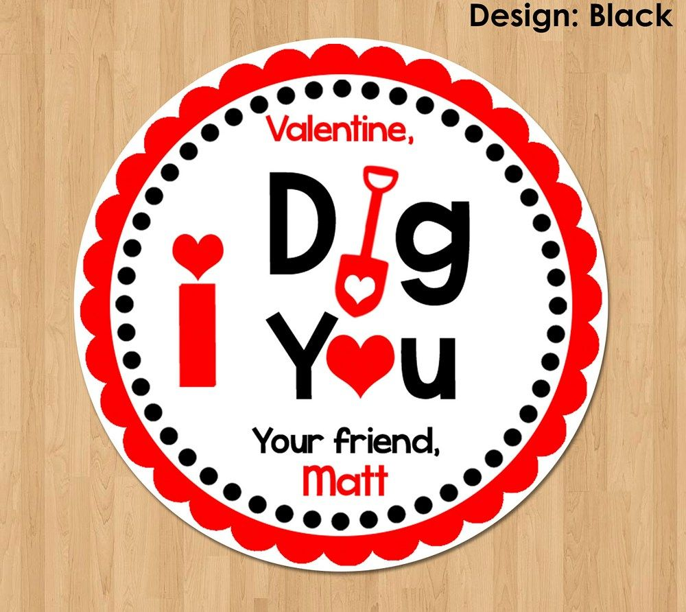 I Dig You Valentine Tag Personalized, Printable Valentine Tags, Valentine's Day Stickers Circles Girl Boy Party Class Classroom Favors Black | GreenCastleDesigns - Digital Art on ArtFire