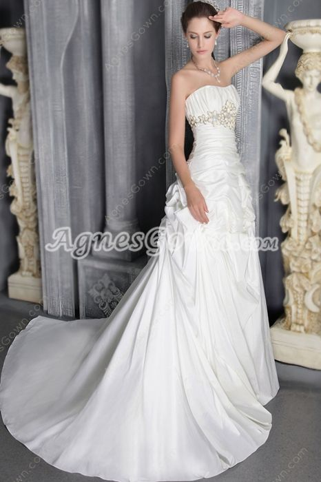Dipped Neckline Taffeta Wedding Dress With Beads