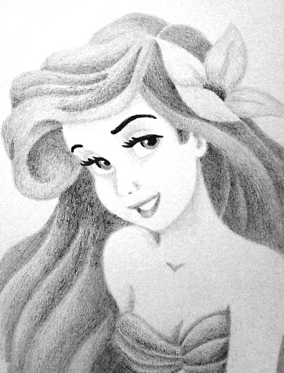 Line Drawing With Shading : Ariel no line drawing shading only pencil