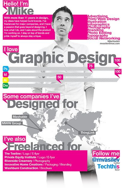About Me Graphic Design Resume Infographic Resume Resume Design