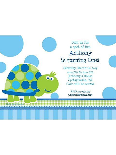First Birthday Turtle Personalized Invitation Each – Turtle Birthday Invitations