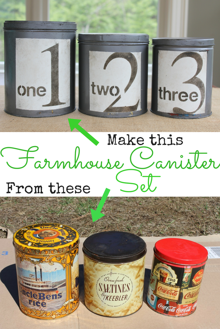 Diy Farmhouse Canister Set Add Character To Your Kitchen With Diy Canisters Made From Thrifted Tins A Farmhouse Canisters Kitchen Canisters Diy Farmhouse Diy