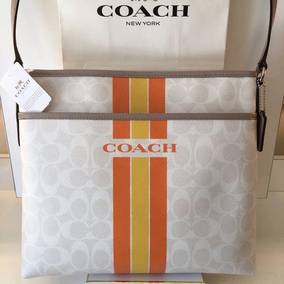 COACH NEW CROSSBODY BAG 100% AUTHENTIC COACH NEW NEVER USED WITH TAGS CROSSBODY BAG.  WHAT A BEAUTIFUL BAG PERFECT FOR ANY OCCASION IN A CHEERFUL ARRAY OF COLOR. THE BAG MEASURES 12 INCHES WIDE BY 11 INCHES TALL WITH A LONG ADJUSTABLE STRAP Coach Bags Crossbody Bags