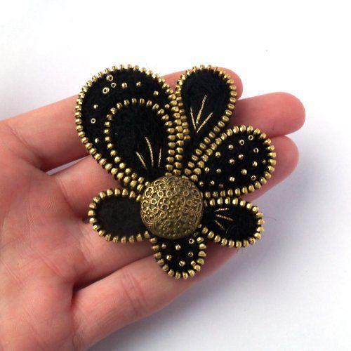 Unusual Zipper BroochFlower  of Felt Zipper Jewelry by PinkiWorld....