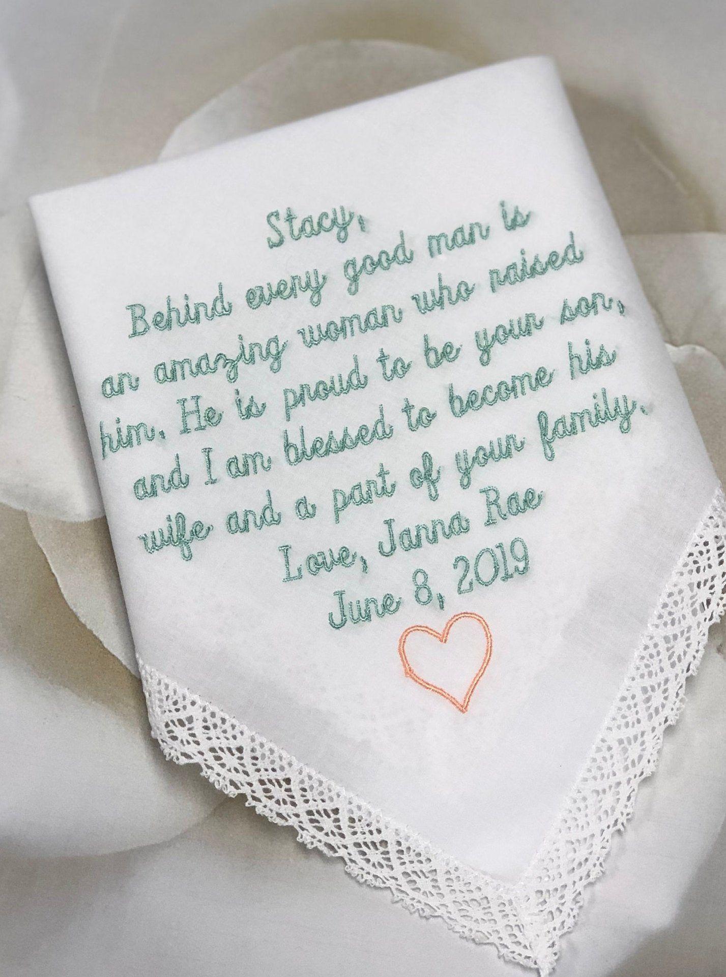 Grooms Mother Wedding Handkerchief Embroidered Handkerchief Etsy Embroidered Handkerchief Wedding Mother In Law Gifts Wedding Handkerchief