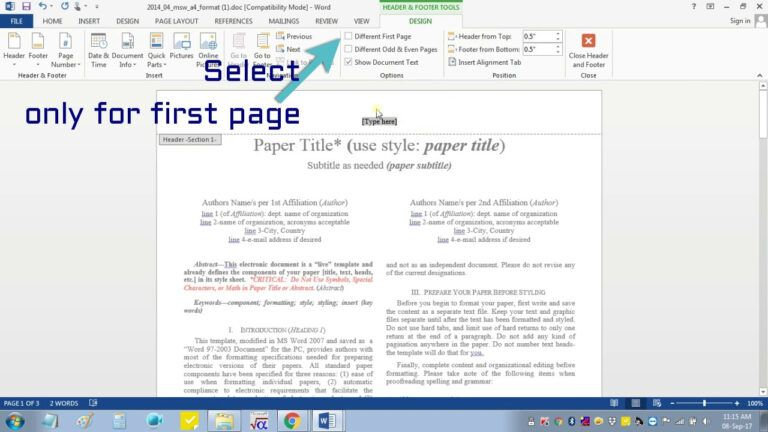 Insert Header Footer In Ms Word For Ieee Camera Ready Manuscript Pertaining To Ieee Template Word 2007 Cumed Org Word 2007 Word Template Words