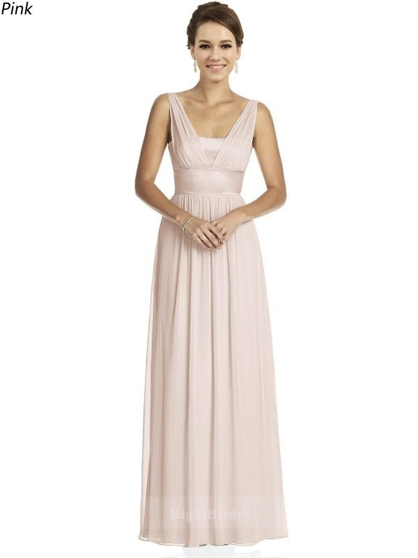 2018 Spring Trends Long Chiffon V-Neck Pink Sleeveless Bridesmaid ...