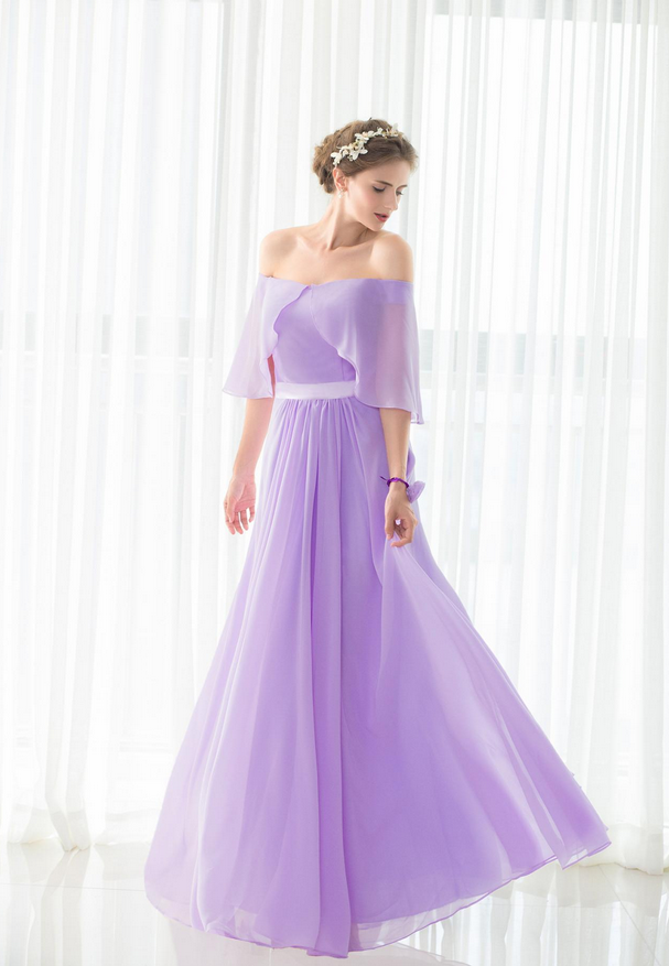 elegant purple bridesmaids dresses , formal dress,boat neck chiffon ...