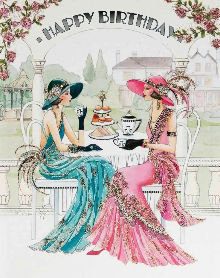Happy Birthday With Images Art Deco Cards Art Deco Fashion