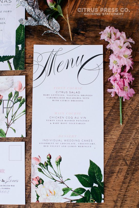 Floral Wedding Menu Botanical Vintage Rose