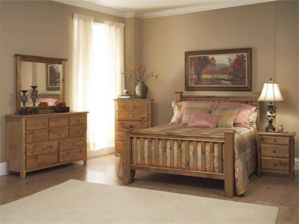Solid Pine Bedroom Furniture Sets With Wood Floor And White Curtain Small Windows Pine Bedroom Furniture Bedroom Furniture Design Pine Bedroom