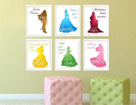 Disney Princess Set of 3,4,5 or 6, Watercolor Princess Decor ...