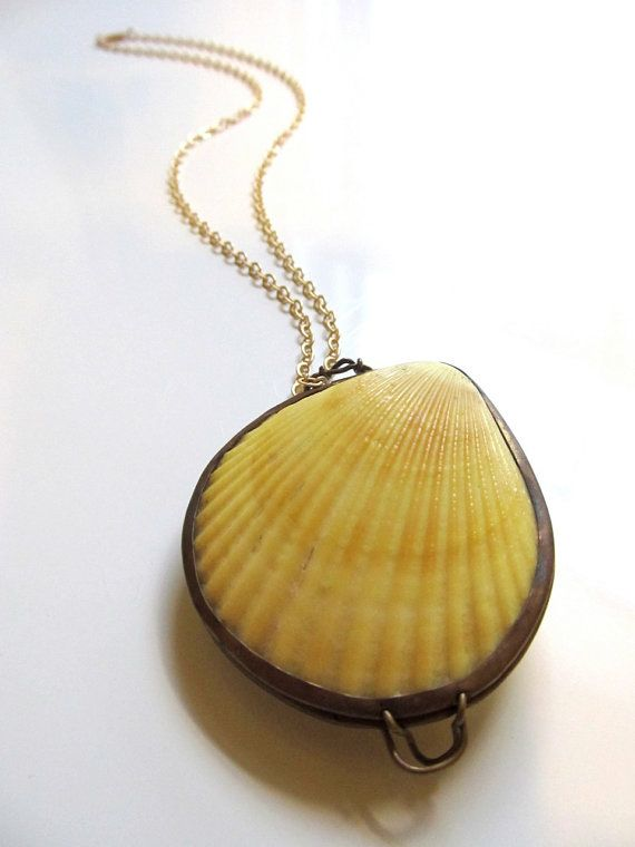 RESERVED/// Shell Locket Necklace with Yellow by BananaPeels, $25.00