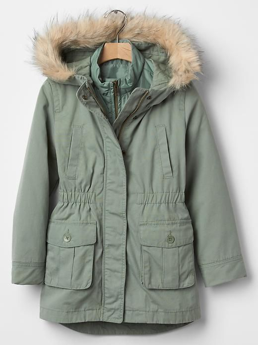 GAP Kids Girls 3-in-1 Faux Fur Green Parka Anorak Coat Jacket XS 4 ...