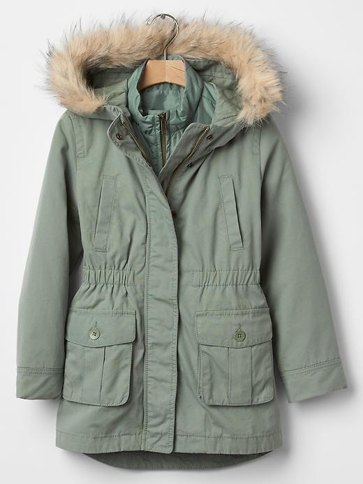 GAP Kids Girls 3-in-1 Faux Fur Green Parka Anorak Coat ...