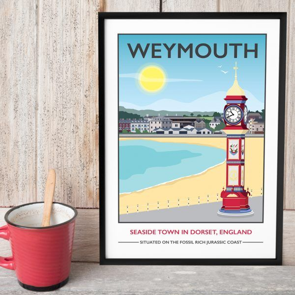 Weymouth Beach, Dorset Print  £15.00 - £105.00  Part of the jurassic coast, Weymouth is a popular seaside town in Dorset. With it's local attractions of the Isle of Portland, Nothe Fort and Chesil Beach it's a great British holiday destination.  I am inspired by the old railway posters, my prints are now available as digital prints, signed Giclee prints both with an option of framing. Read below for further details.