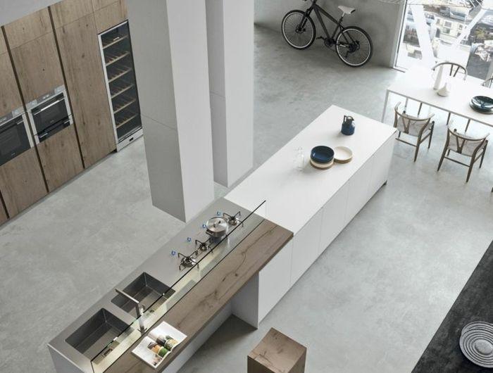 1 Jolie Kitchenette Leroy Merlin Sol En Beton Cire Ilot De Cuisine Central Loft Kitchen Minimalist Home Minimalist Home Decor