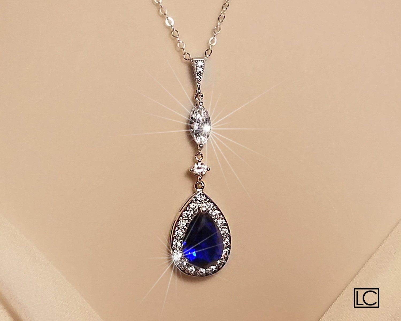 Blue Crystal Bridal Necklace Wedding Sapphire Halo Pendant Etsy Bridal Necklace Rhinestone Jewelry Set Bridesmaid Gifts Jewelry