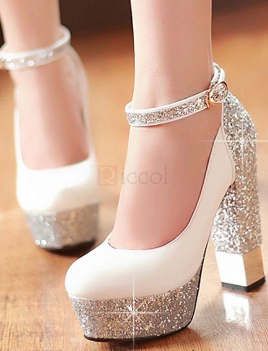707daa484f7 ❀ Ankle Strap Thick Heel Platform Pumps Wedding Shoes