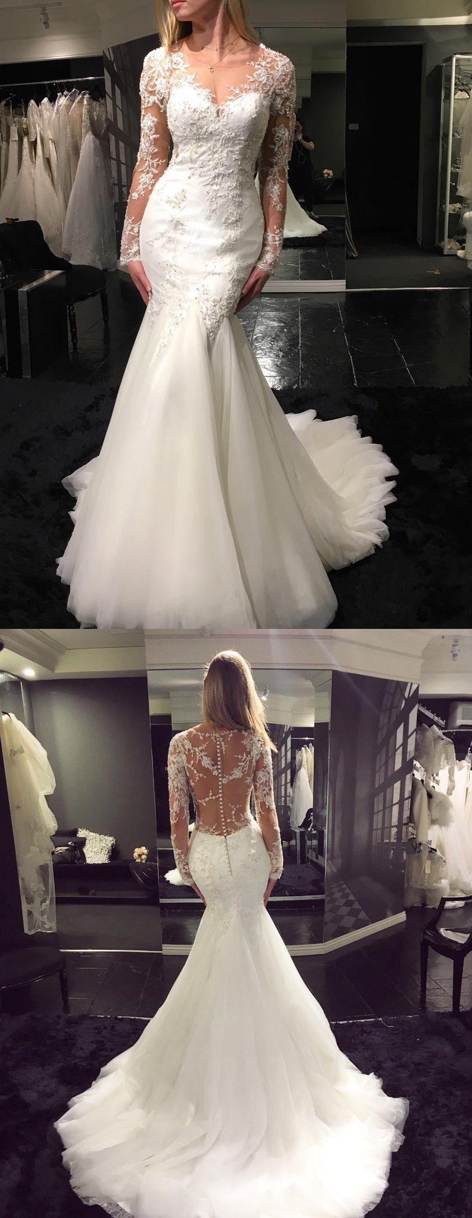 Long sleeve wedding dresses vneck long train mermaid lace beading