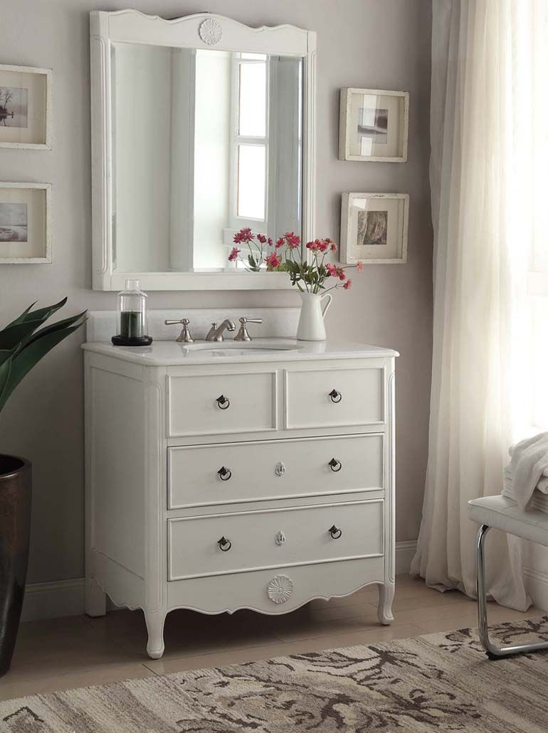 34 Inch Adelina Vintage Bathroom Vanity Antique White Finish