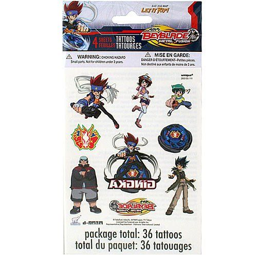 Beyblade Metal Fusion Tattoos [4 Sheets Per Pack]