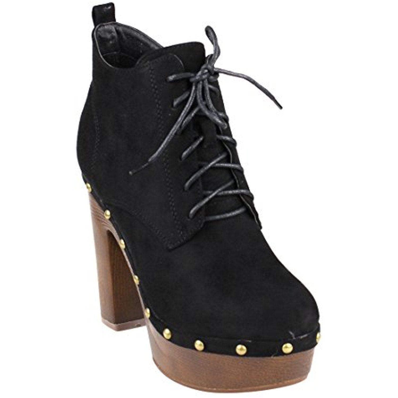 FM41 Women's Platform Side Zip Block Heel Ankle High Top Combat Booties