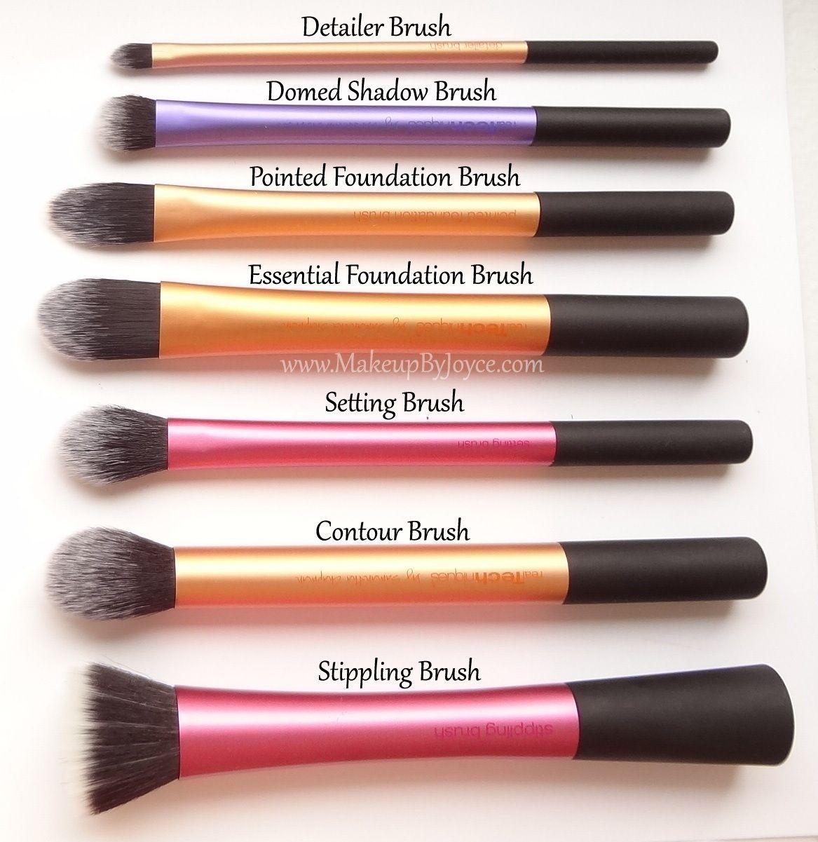 real techniques mixture of brushes side by side Makeup