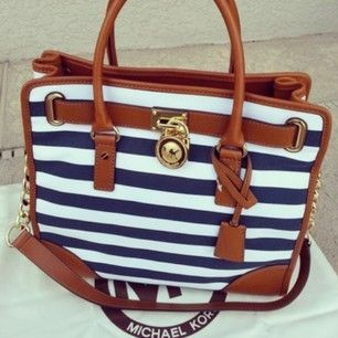 The Perfect Design And Beautiful Color Michael Kors Striped Lock Large Navy  Tote