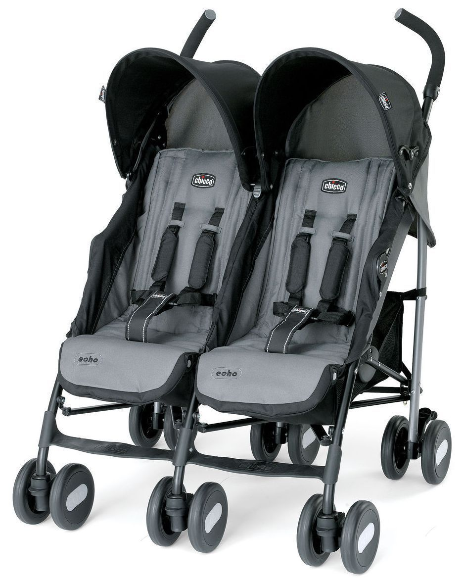 Chicco Echo Twin Baby Double stroller Coal NEW 2017 Auth