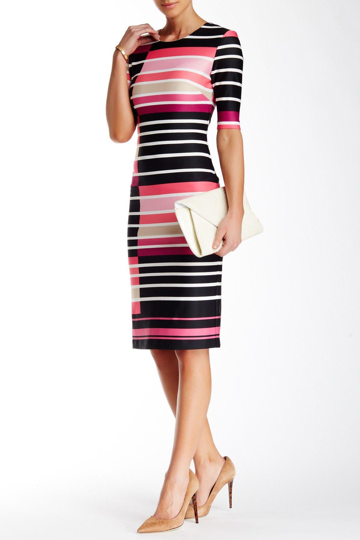 Eliza j striped scuba midi dress was ium too sexy for