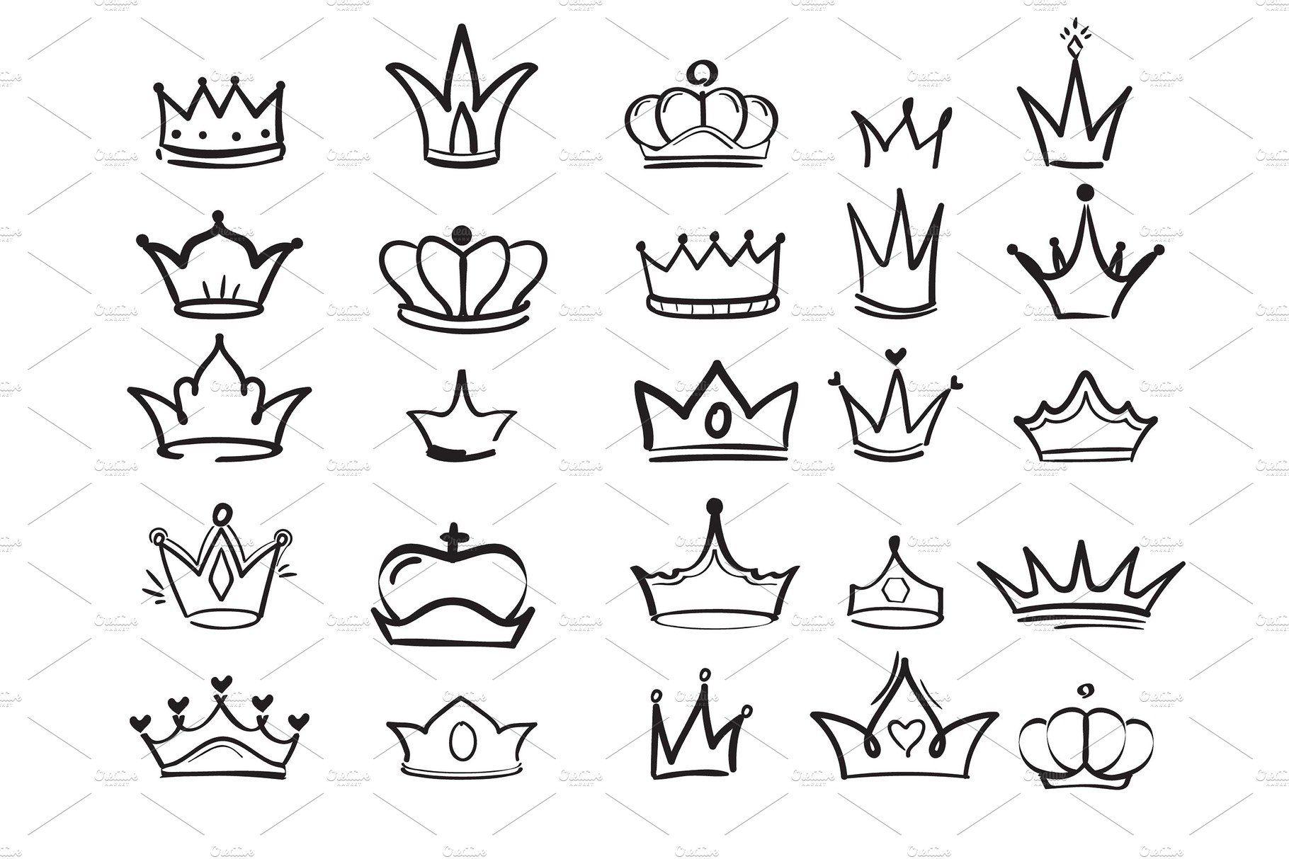 Doodling Crown Ink Hand Drawn
