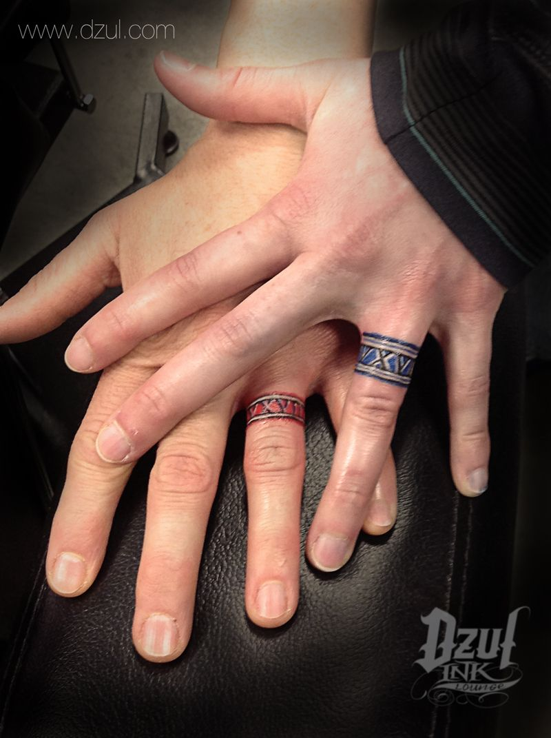 Wedding Ring Color Tattoo  Jacob Couples Tattoos Ring Tattoo Finger Tattoo  Color Tattoos Matching Tattoos