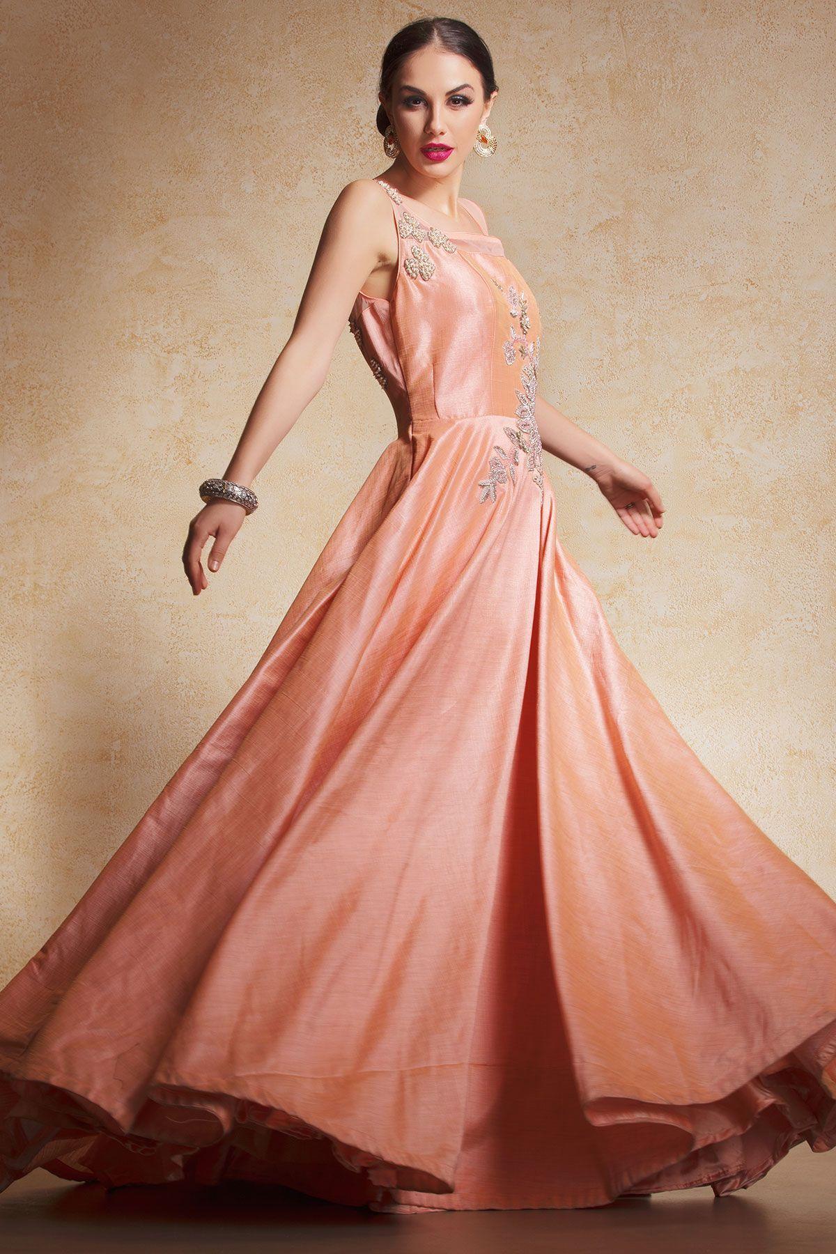 Peach Silk Bead Embroidered Evening Gown-GW619   Pinterest   Peach ...