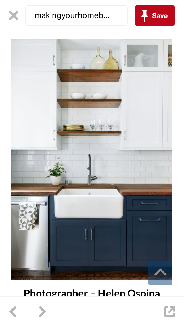 Pretty Colour Combo For A Small Kitchen Navy Blue With White Upper Cabinets Floating Shelves And Subway Tile Kitchen Design Home Kitchens Kitchen Renovation